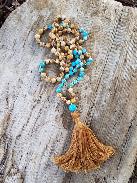 I Am Grounded. Jasper Gemstone Necklace. Full Mala 108 Beads. Energy Healing Jewelry.