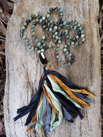 My True Purpose. African Turquoise Gemstone Necklace. Full Mala 108 Beads. Energy Healing Jewelry.