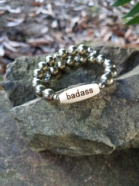 Badass. Gold Pyrite Gemstone and Engraved Wood Beaded Bracelet. Crystal Energy Healing Jewelry.