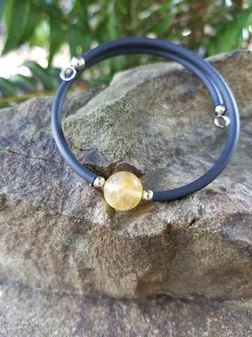 Abundance. Citrine Bracelet. Chakra Gemstone Bangle Cuff. Crystal Energy Healing Jewelry.