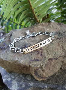 Courage. Hand Stamped Inspirational Quote Bracelet. Brass and Silver Metal with Quartz Crystal.