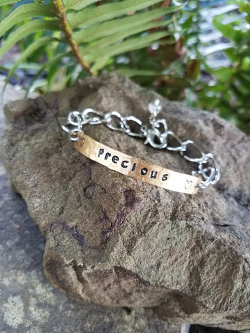 Precious. Hand Stamped Inspirational Quote Bracelet. Brass and Silver Metal with Quartz Crystal.