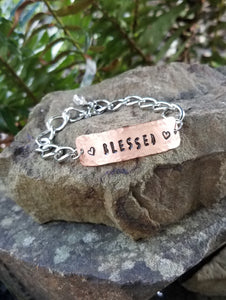 Blessed. Hand Stamped Inspirational Quote Bracelet. Copper and Silver Metal with Quartz Crystal.