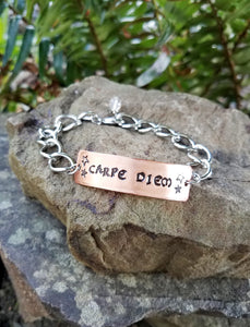 Carpe Diem. Hand Stamped Inspirational Quote Bracelet. Copper and Silver Metal with Quartz Crystal.