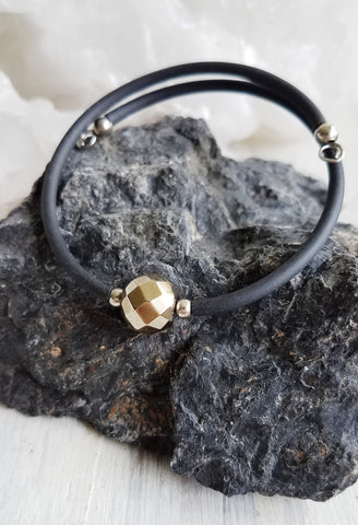 Confidence. Faceted Pyrite Bracelet. Chakra Gemstone Bangle Cuff. Crystal Energy Healing Jewelry.