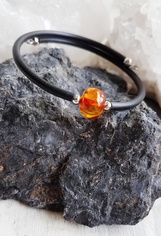 Health and Happiness. Amber Bracelet. Chakra Gemstone Bangle Cuff. Crystal Energy Healing Jewelry.
