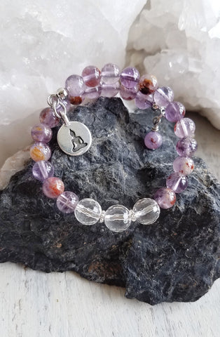 I Am Healing. Super Seven and Clear Crystal Quarter Mala Bracelet. Crystal Energy Healing Jewelry.