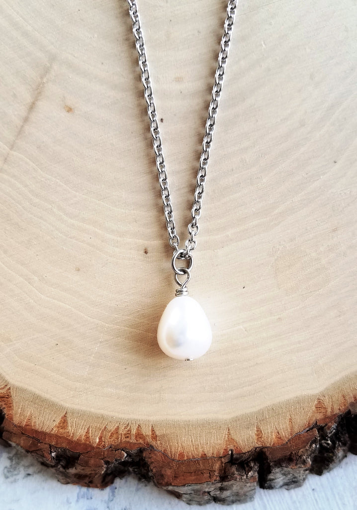 Freshwater Pearl Intuition Bar Healing Necklace  Energy Healing  Jewelry  Feminine Wisdom Necklace  Inner Strength Minimalist Necklace