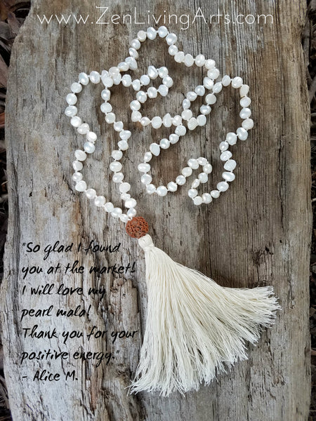 Divine Feminine. Freshwater Pearl Nugget Necklace. Full Mala 108 Beads. Energy Healing Jewelry.