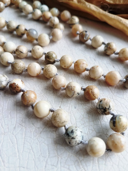 I Am Inspired. African Opal Jasper Gemstone Necklace. Full Mala 108 Beads. Energy Healing Jewelry.