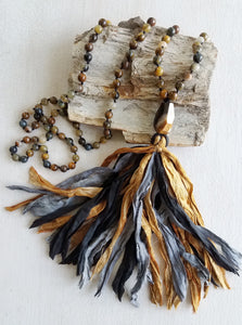 Courage. Tiger's Eye Gemstone Necklace. Full Mala 108 Beads. Energy Healing Jewelry.