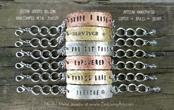 Badass Babe. Hand Stamped Inspirational Quote Bracelet. Brass and Silver Metal with Quartz Crystal.