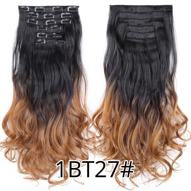 Curly Synthetic 16 Clips In Hair Extensions®