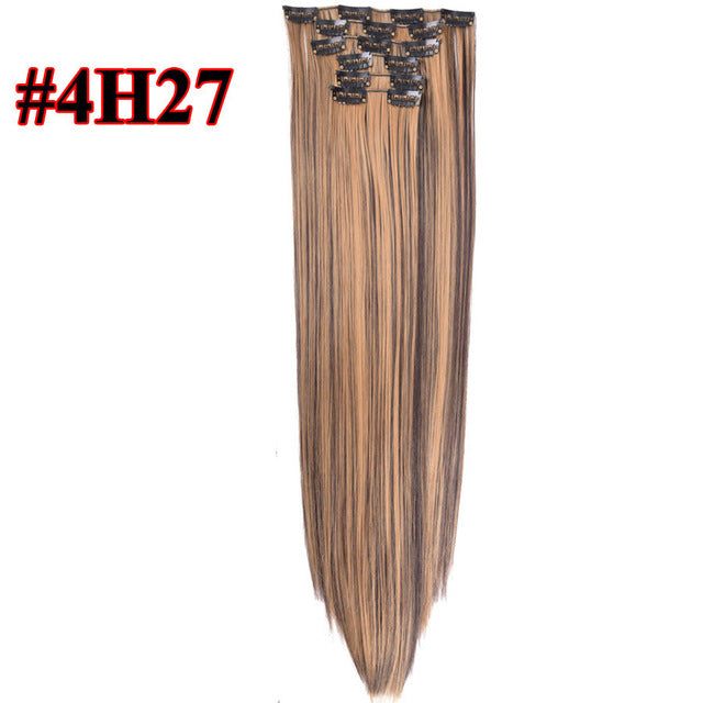 22 Inch Long Straight Synthetic High Temperature Fiber Clip-in Hair Extensions ®