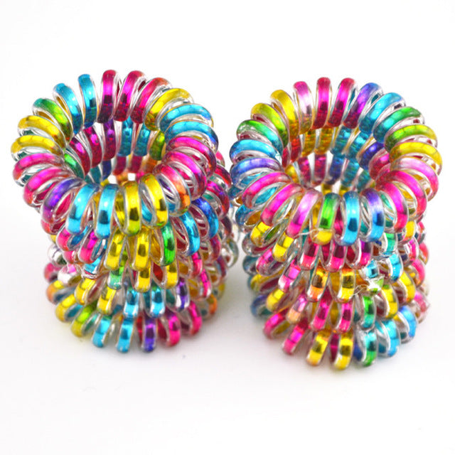 10 Pieces/Colorful Telephone Wire Cord Holder Elastic Hair Band