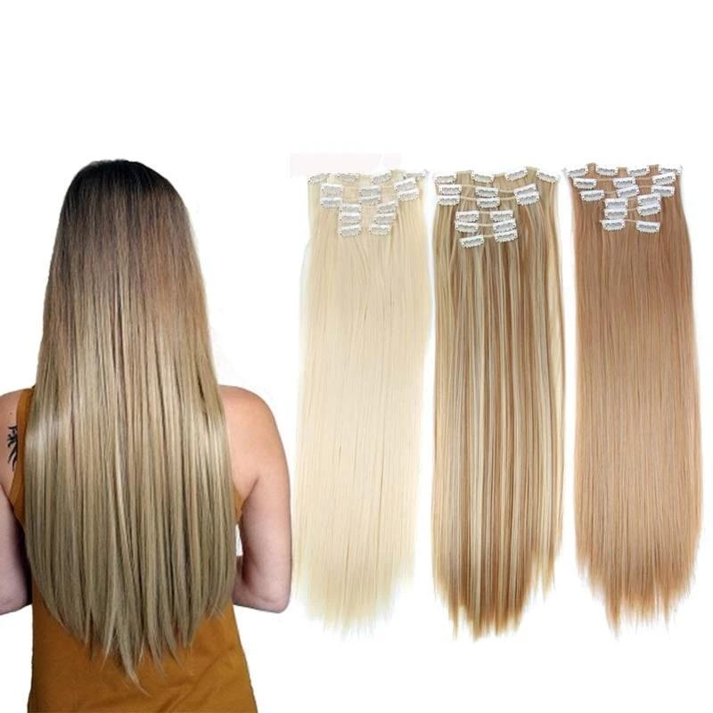 Straight Synthetic High Temperature Fiber Clip-in Hair Extensions