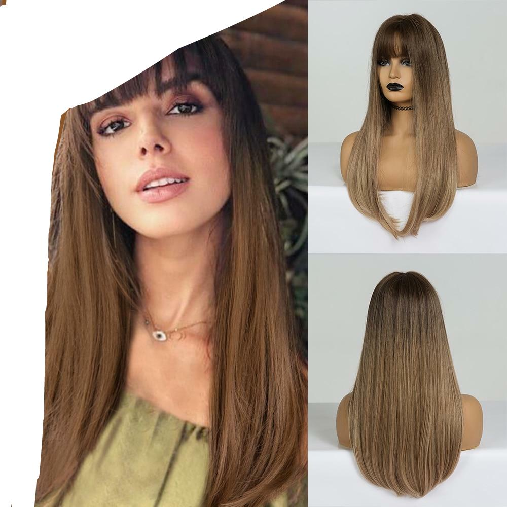Long Straight Synthetic Wigs Brown to Blonde Ombre Hair Wigs With Bangs For Woman Afro High Density Heat Resistant Wigs