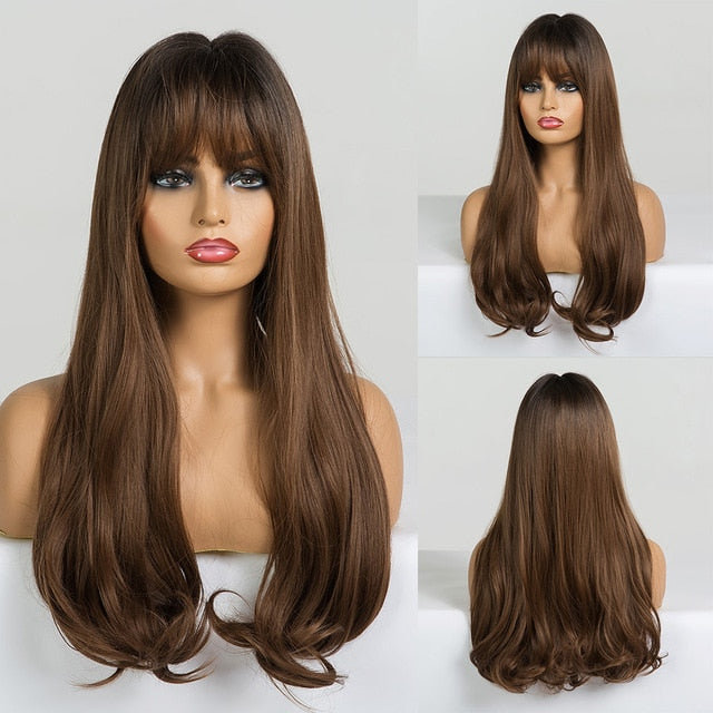 EASIHAIR Long Straight Synthetic Wigs Brown to Blonde Ombre Hair Wigs With Bangs For Woman Afro High Density Heat Resistant Wigs