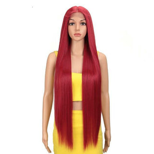 High Quality Stylish 38 Inch Straight Synthetic Lace Front Wig 2021