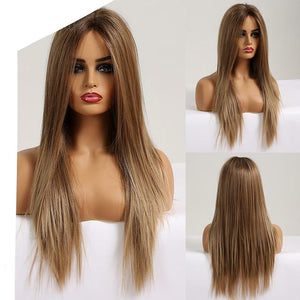 Long Silky Straight Brown Blonde Lace Front Wig with Baby Hair High Density Heat Resistant Synthetic Wigs for Women