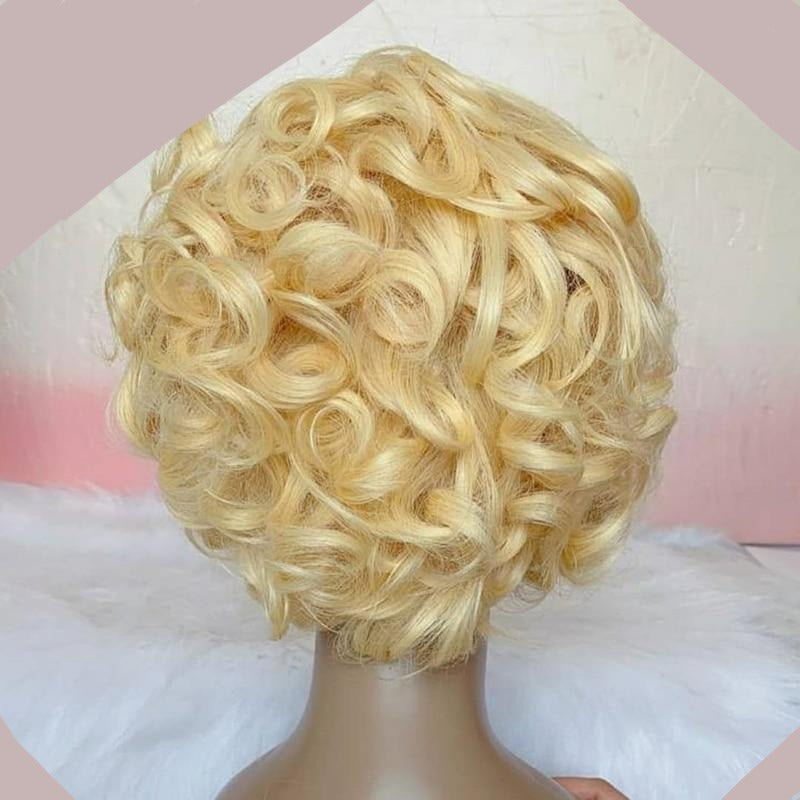 Hello Beautiful | Lace Front Remy Human Hair Blonde Short Wig (Transparent Lace)