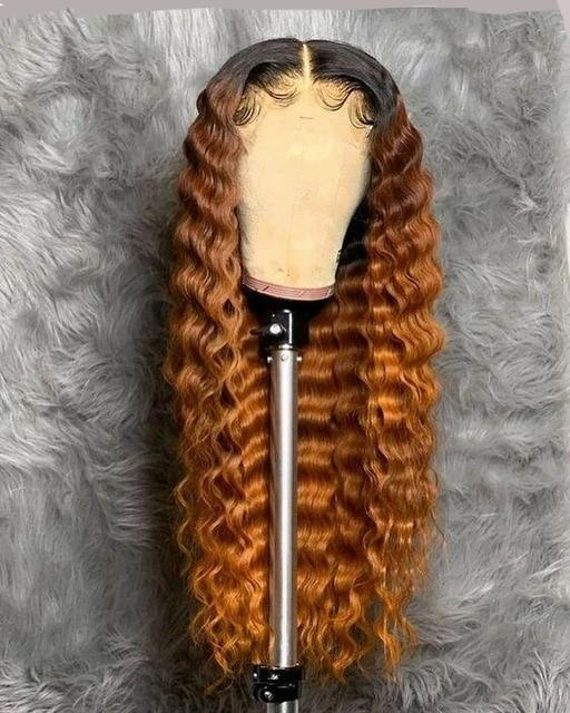 Golden Bronze | Deep Wave Lace Front Brazilian Human Hair Wig (Pre-Plucked)