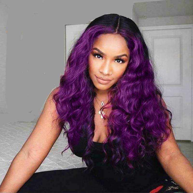 Purple Rain |  Wavy Ombre Lace Front Human Hair Wig  (HD Transparent)