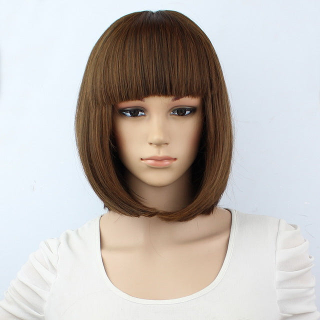 "Synthetic 10"" Inch Straight Short Bob Wig With Bangs ®"