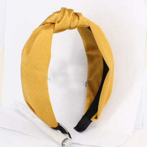 Bohemian Solid Color Satin Ribbon Knotted Headband ®