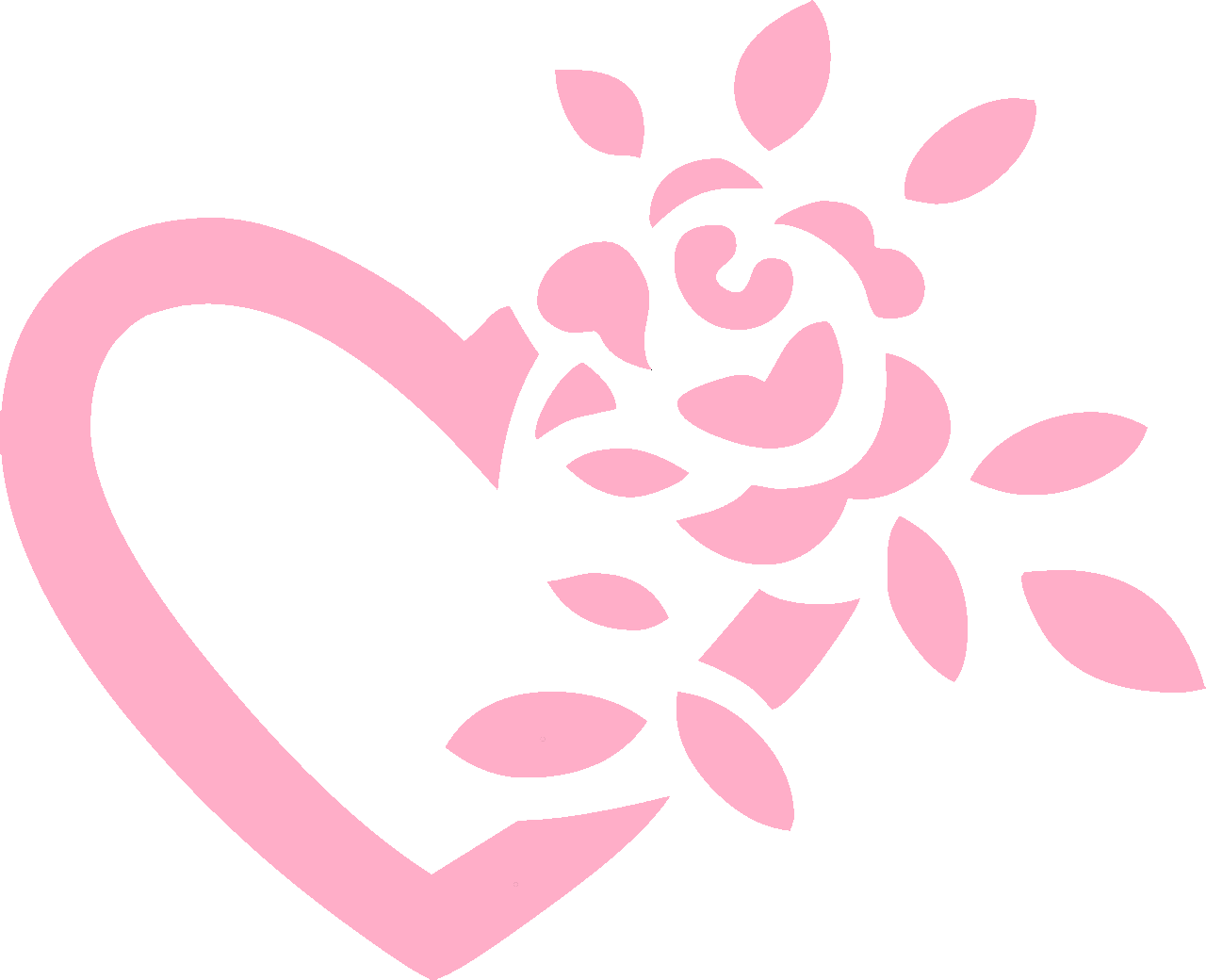 Heart with a flower iron-on decal