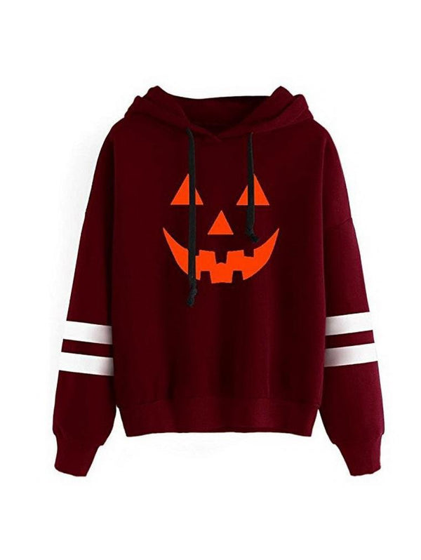 Halloween Pumpkin Print pPus Velvet Head Hooded Sweater