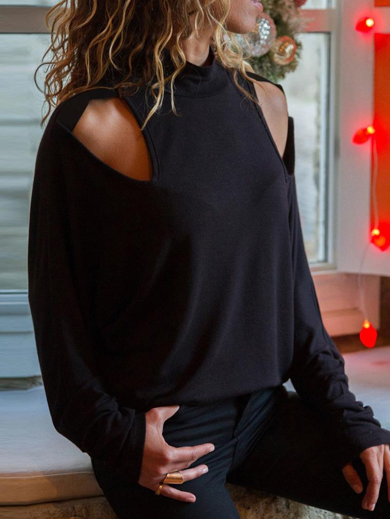 Black Cutout Slim Long Sleeve Shirt