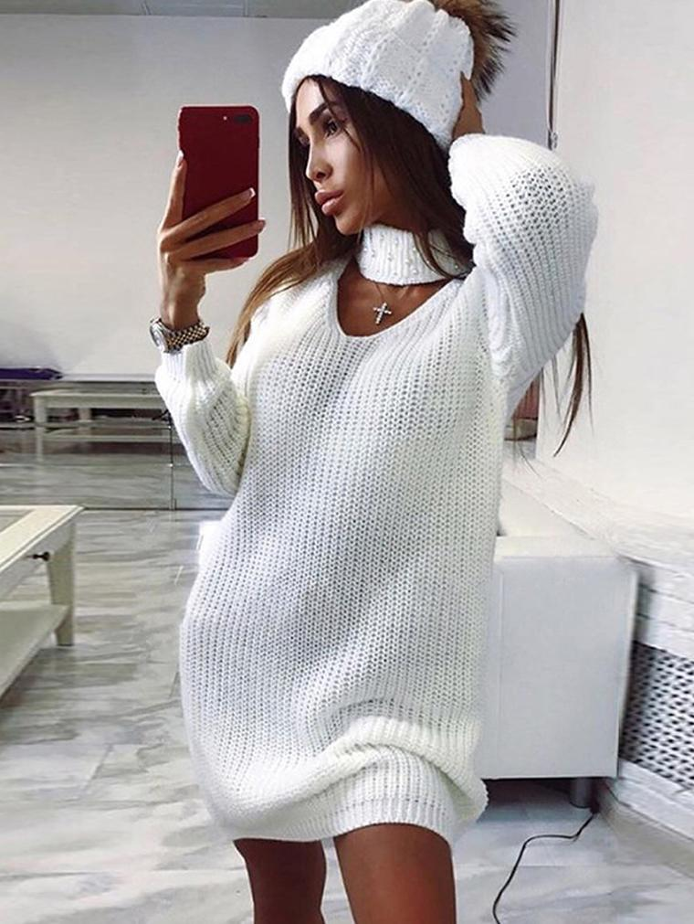 Slim Long Sleeve Sweater Dress