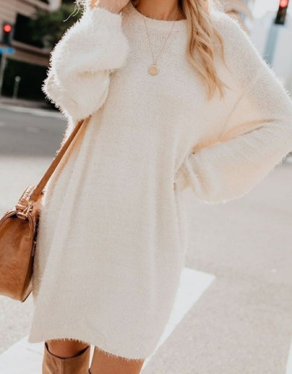 LONG SLEEVE ROUND NECK LOOSE PLUSH CASUAL-DRESSES