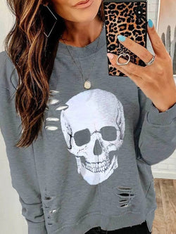 Long Sleeve Casual Loose Cotton Ripped Tops