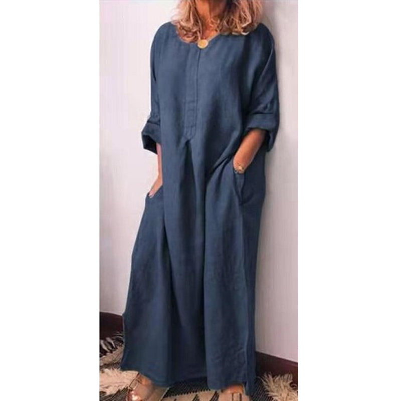 COTTON LONG SLEEVE CAUSAL MAXI-DRESS