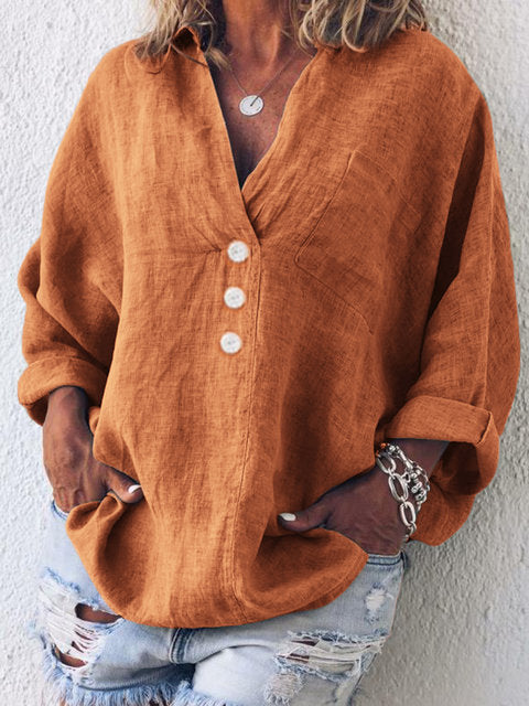 V NECK  LINEN PLUS SIZE CASUAL LONG SLEEVE BLOUSE
