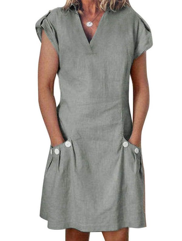 S-3XL WOMEN SUMMER LINEN POCKETS ZIPPER BACK SHIFT CASUAL-DRESS