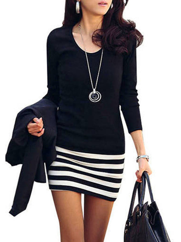 SLIM STRIPE STITCHING LONG SLEEVE LARGE SIZE DRESS