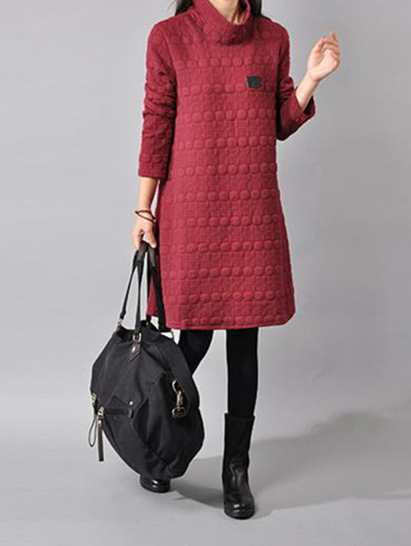 HIGH NECK QUILTED PADDED BOTTOMING DRESS
