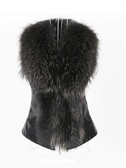 FAUX FUR COLLAR PU VEST