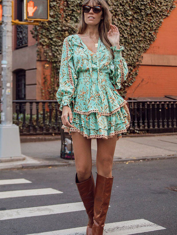 PRINTED RUFFLED HOLIDAY DRESS