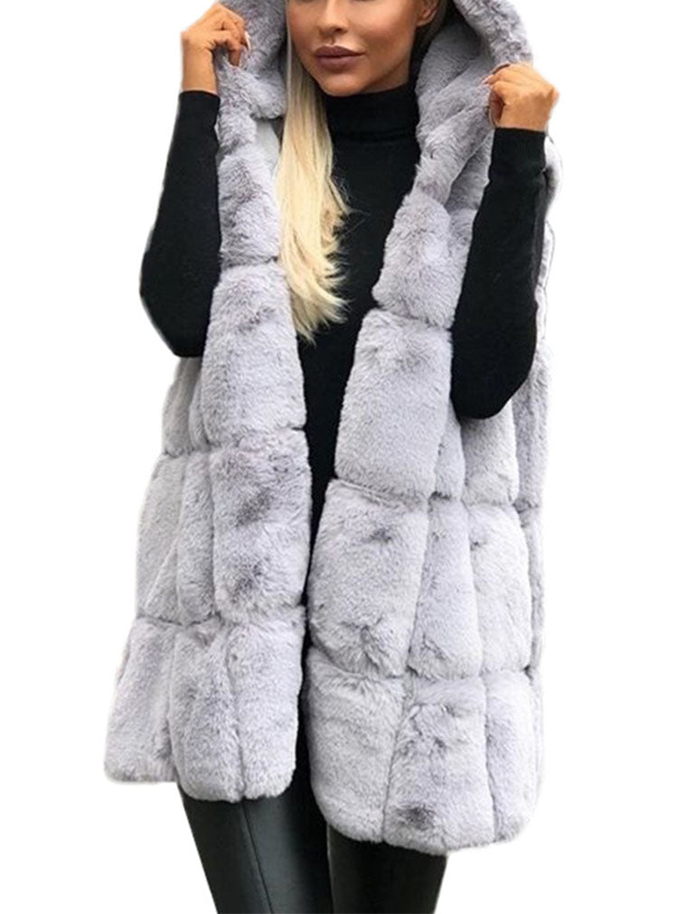 HOODED FAUX FUR VEST