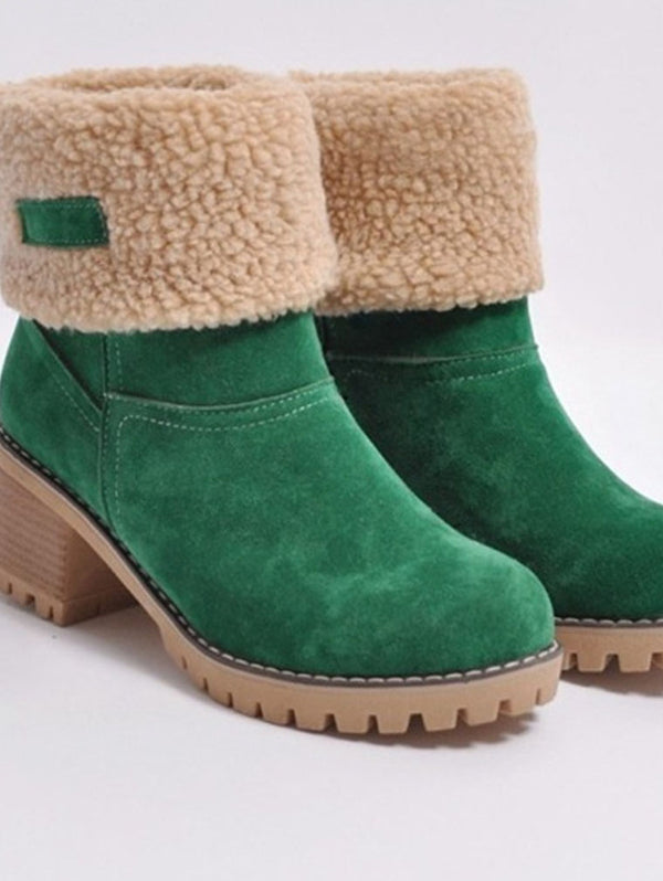 THICK-SOLED LAMBSKIN SNOW BOOTS