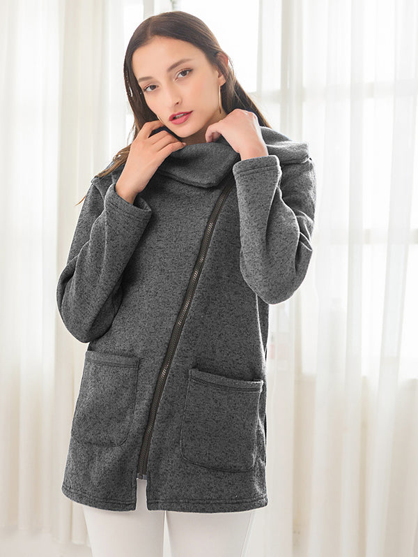 S-5XL 10 Colors Asymmetrical Side Zipper Shawl Collar Coat