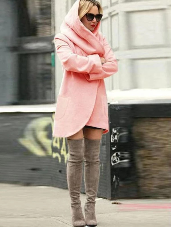 Autumn Long Sleeve Fashion Pocket Loose Hooded Woolen Coat