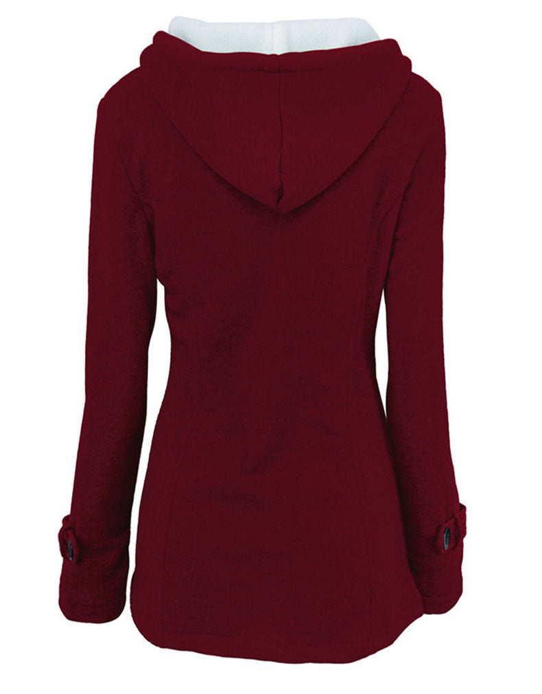HOODED LONG-SLEEVED COTTON WOMEN'S SWEATER