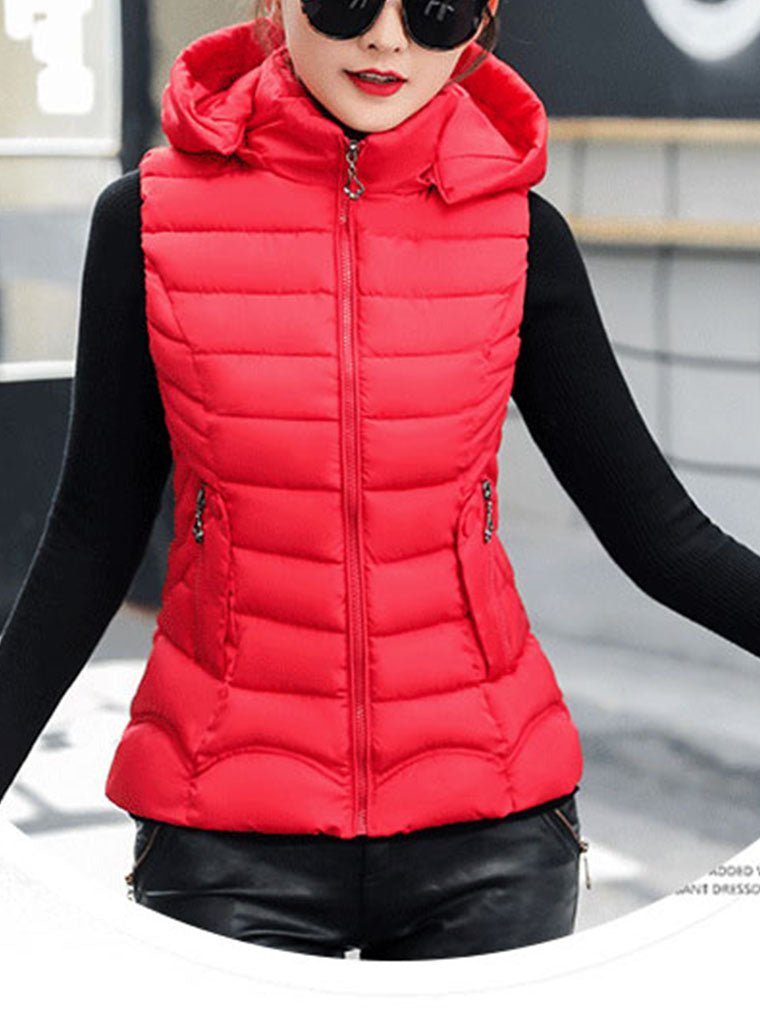 HOODED DOWN COTTON LADIES VEST
