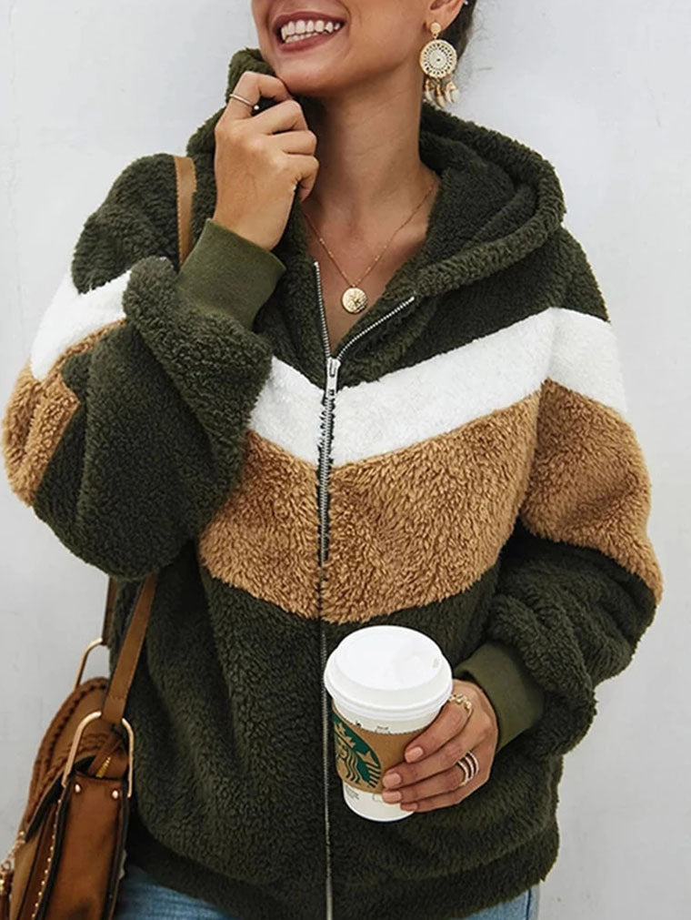 AUTUMN AND WINTER HOODED FUR COAT
