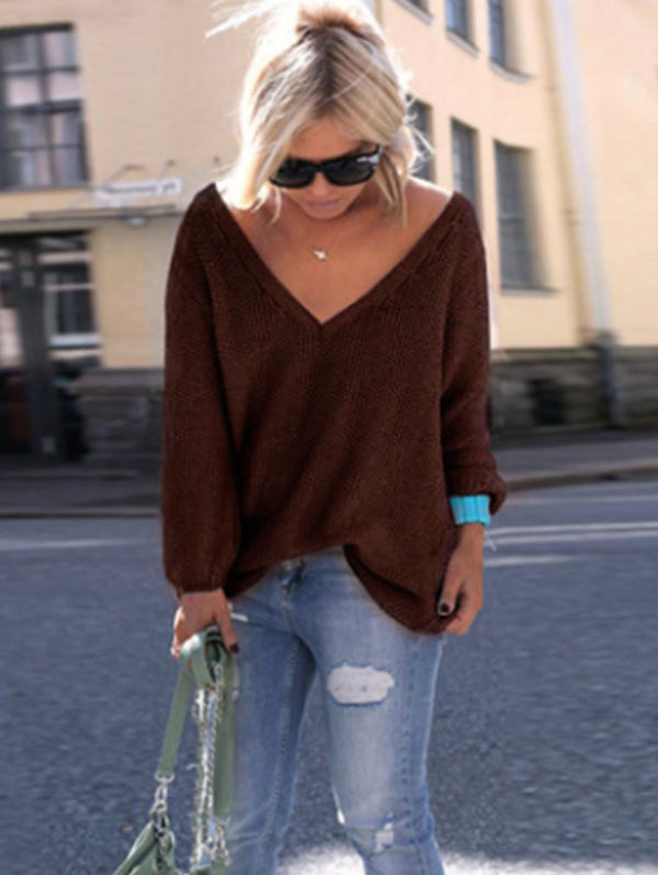 LONG SLEEVE V-NRCK LOOSE SWEATER